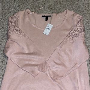 Lane Bryant Sweater with Lace Floral Detail NWT